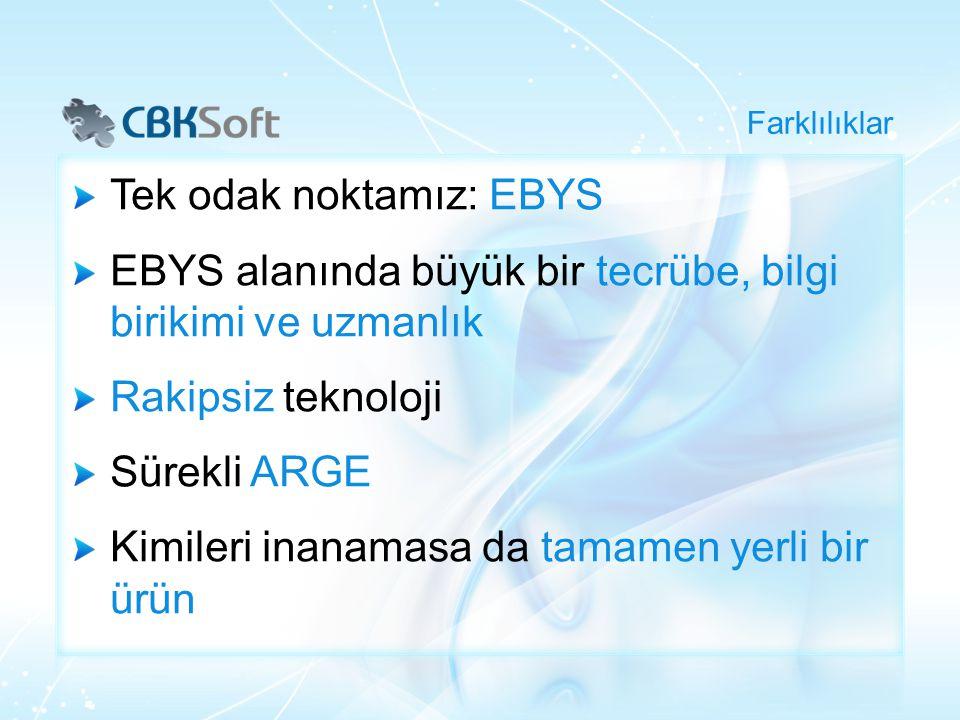 Tek odak noktamız: EBYS EBYS alanında büyük bir tecrübe, bilgi birikimi ve uzmanlık Rakipsiz teknoloji Sürekli ARGE Kimileri inanamasa da tamamen yerl