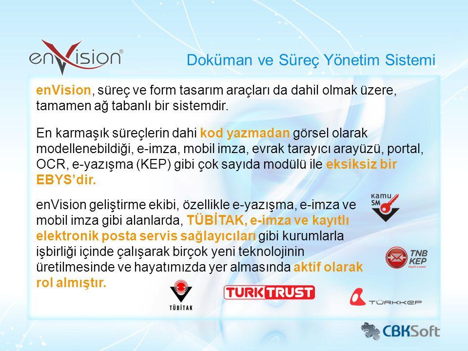 Tüm Türkiye'de 200'den fazla kurum ve kuruluş 100,000'den fazla son kullanıcı enVision ile her gün ortalama: 300,000 sayfa evrak dijital olarak üretiliyor 20,000 evrak elektronik olarak imzalanıyor 1 milyon arama yapılıyor 1.5 milyon evrak görüntüleniyor Türkiye'nin En Çok Tercih Edilen Sistemi