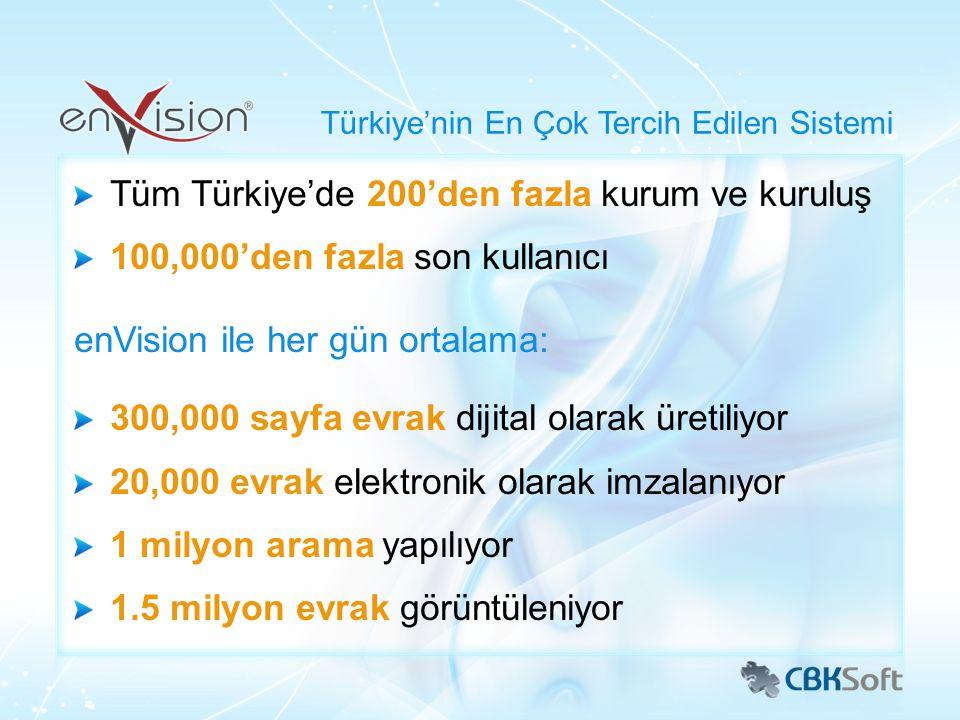 Tüm Türkiye'de 200'den fazla kurum ve kuruluş 100,000'den fazla son kullanıcı enVision ile her gün ortalama: 300,000 sayfa evrak dijital olarak üretil