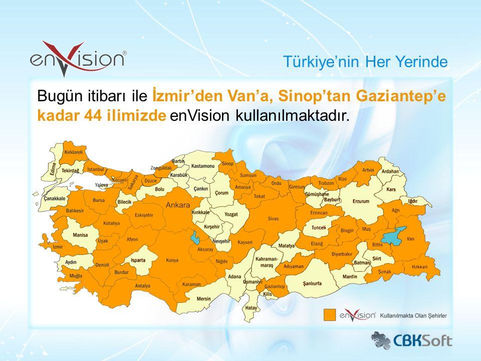 Bugün itibarı ile İzmir'den Van'a, Sinop'tan Gaziantep'e kadar 44 ilimizde enVision kullanılmaktadır. Türkiye'nin Her Yerinde