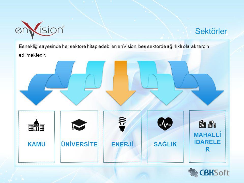 Esnekliği sayesinde her sektöre hitap edebilen enVision, beş sektörde ağırlıklı olarak tercih edilmektedir. Sektörler KAMUÜNİVERSİTEENERJİSAĞLIK MAHAL