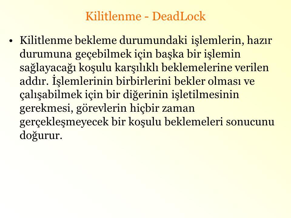 Kilitlenme - DeadLock •Kilitlenme bekleme durumundaki işlemlerin, hazır durumuna geçebilmek için başka bir işlemin sağlayacağı koşulu karşılıklı bekle