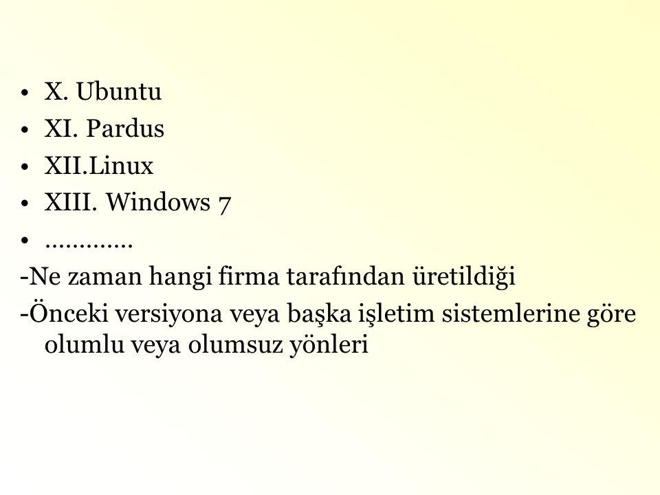 •X. Ubuntu •XI. Pardus •XII.Linux •XIII. Windows 7 •…………. -Ne zaman hangi firma tarafından üretildiği -Önceki versiyona veya başka işletim sistemlerin