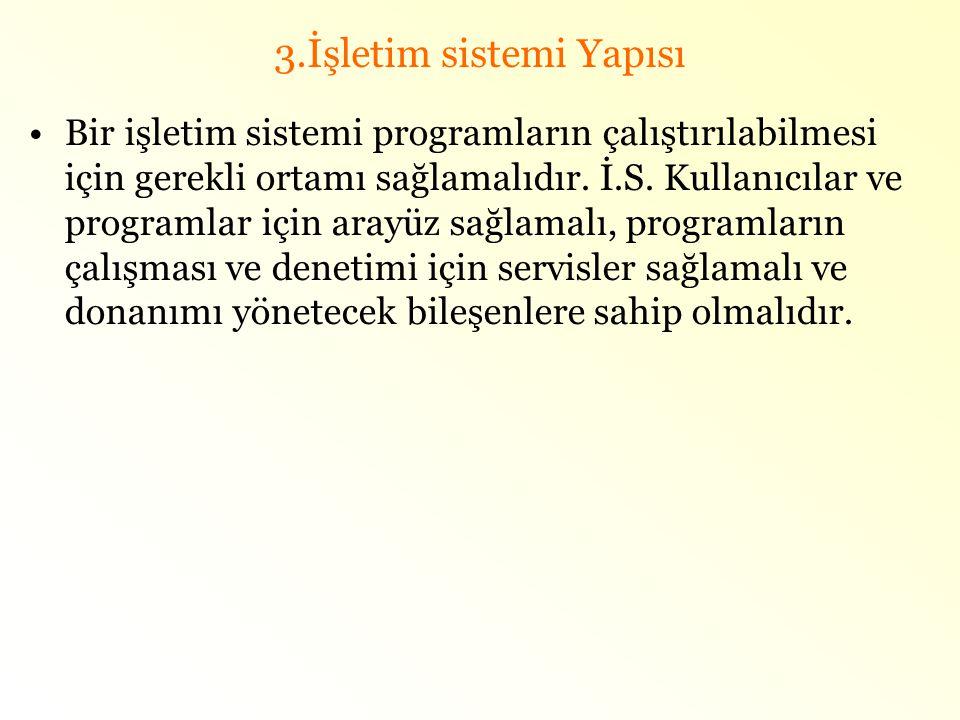 3.İşletim sistemi Yapısı •Bir işletim sistemi programların çalıştırılabilmesi için gerekli ortamı sağlamalıdır. İ.S. Kullanıcılar ve programlar için a