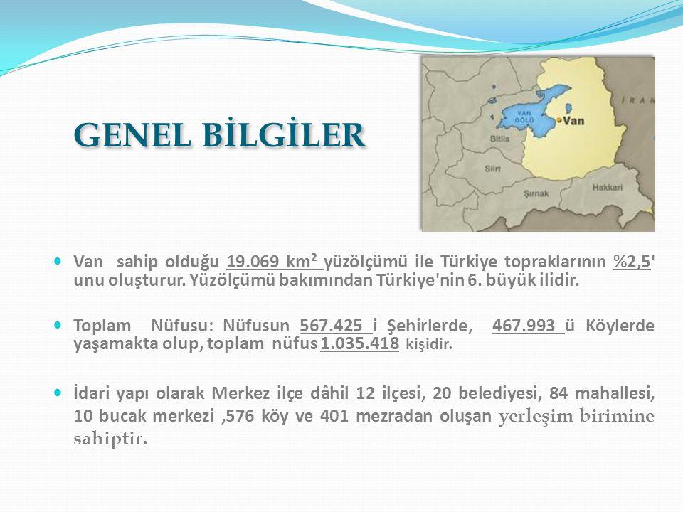  Van sahip olduğu 19.069 km² yüzölçümü ile Türkiye topraklarının %2,5 unu oluşturur.