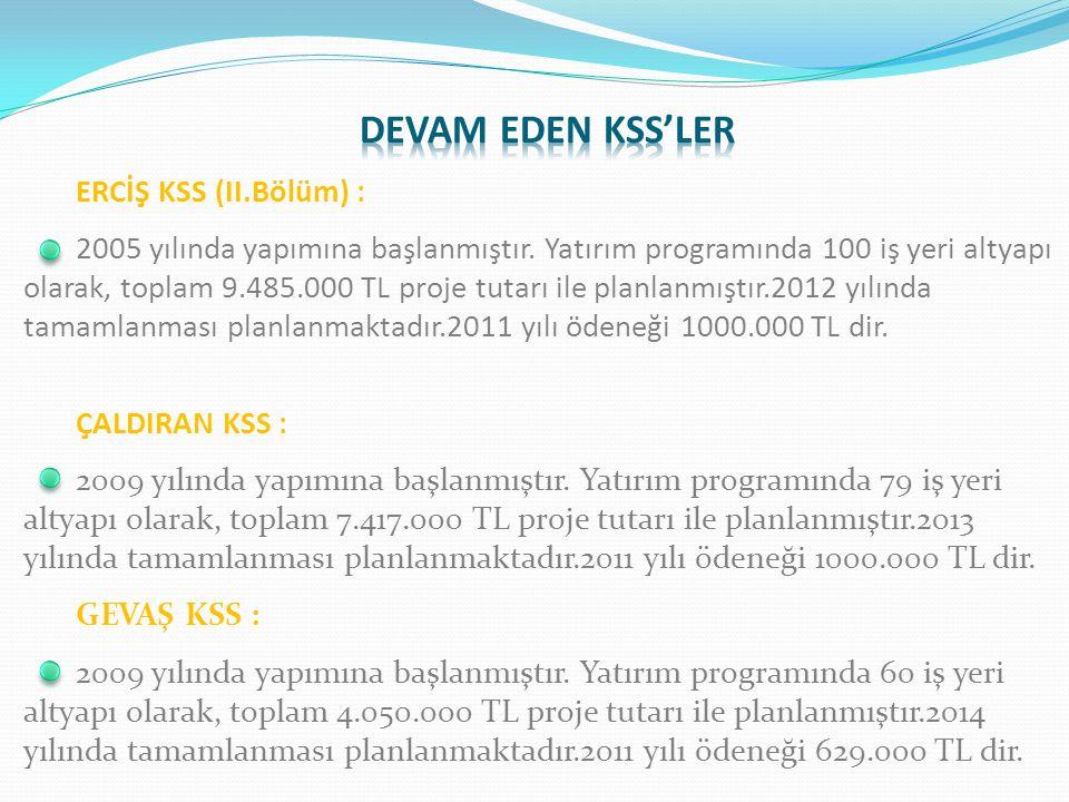 ERCİŞ KSS (II.Bölüm) : 2005 yılında yapımına başlanmıştır.