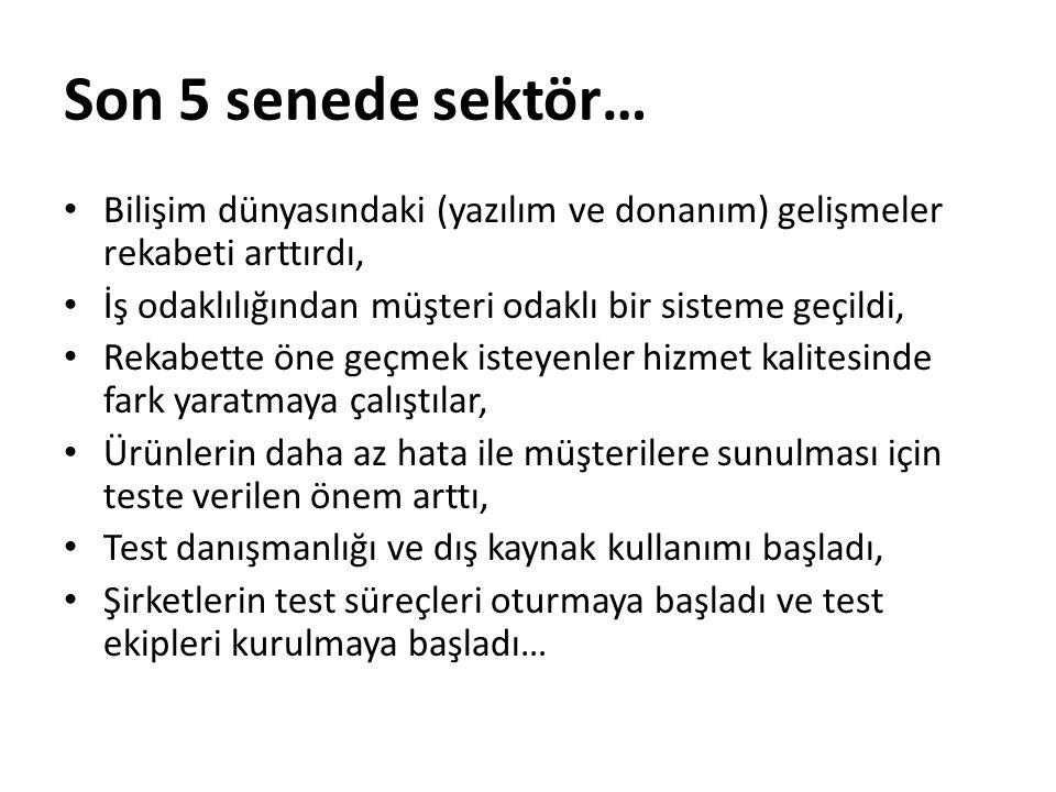 Test Seviyeleri Test 4 temel aşamadan oluşur; -Birim (unit) seviyesi -Modül seviyesi -Sistem seviyesi -Kabul seviyesi