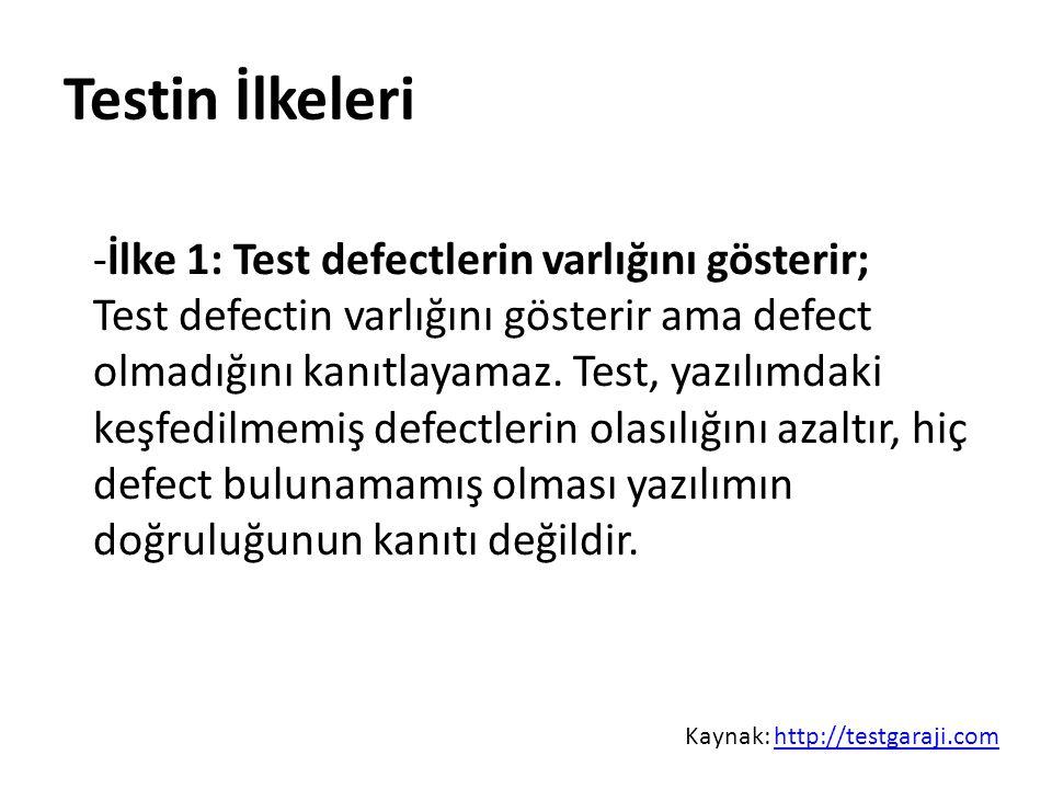 Test Seviyeleri Kabul seviyesi Üretilen yazılımın müşteri tarafından test edilmesidir.