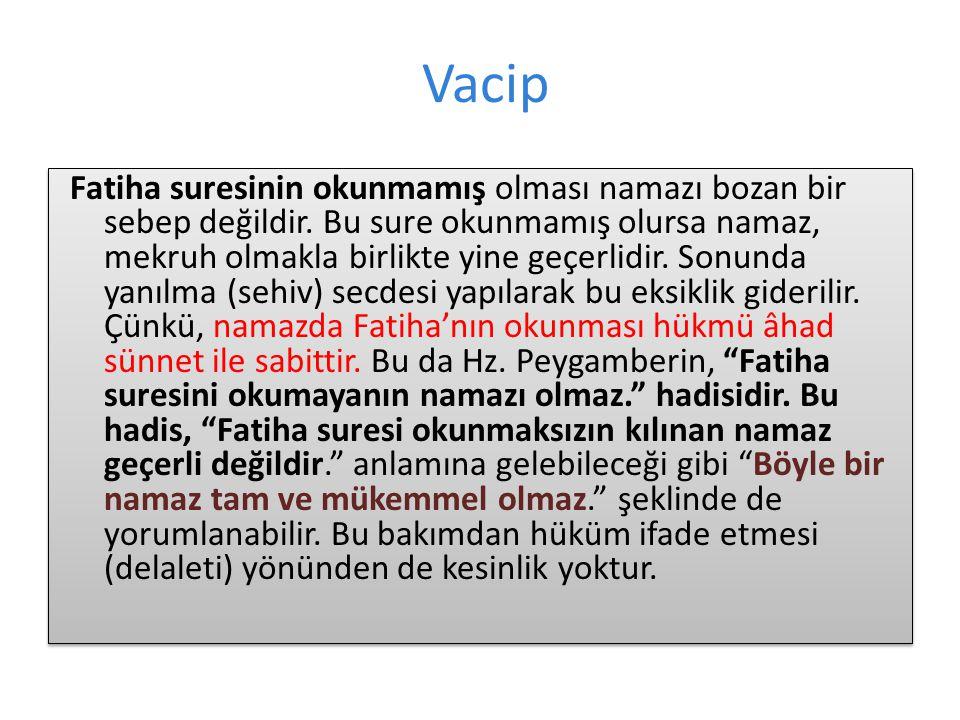 Vacip Fatiha suresinin okunmamış olması namazı bozan bir sebep değildir.