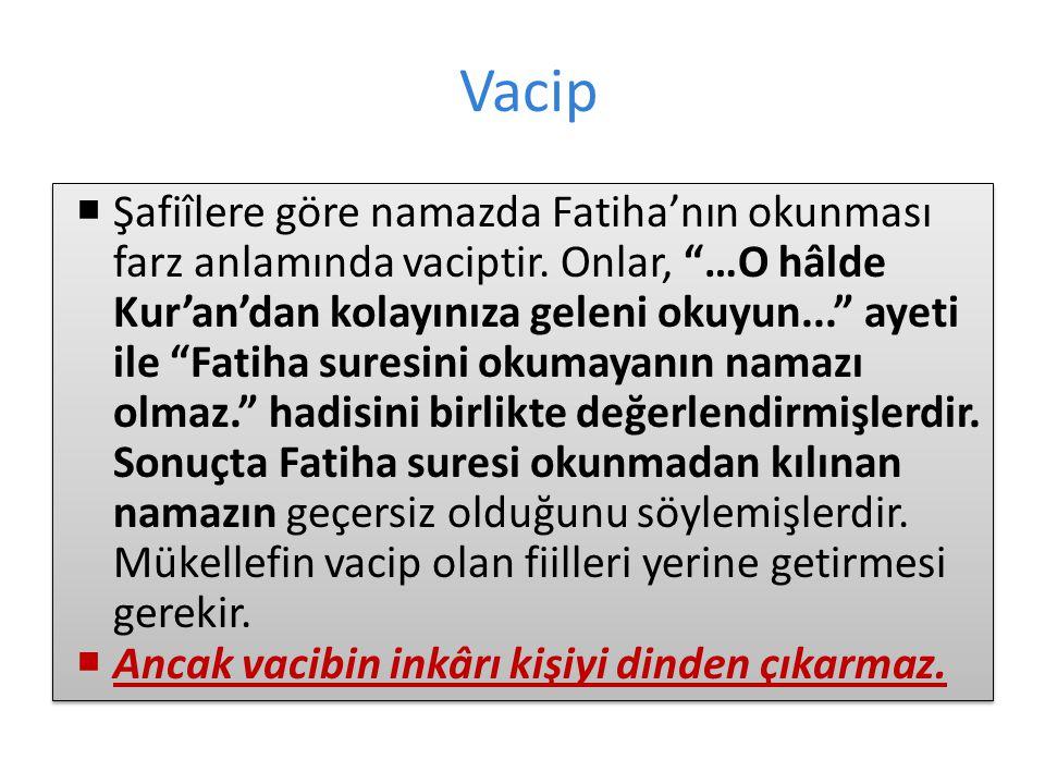 Vacip  Şafiîlere göre namazda Fatiha'nın okunması farz anlamında vaciptir.