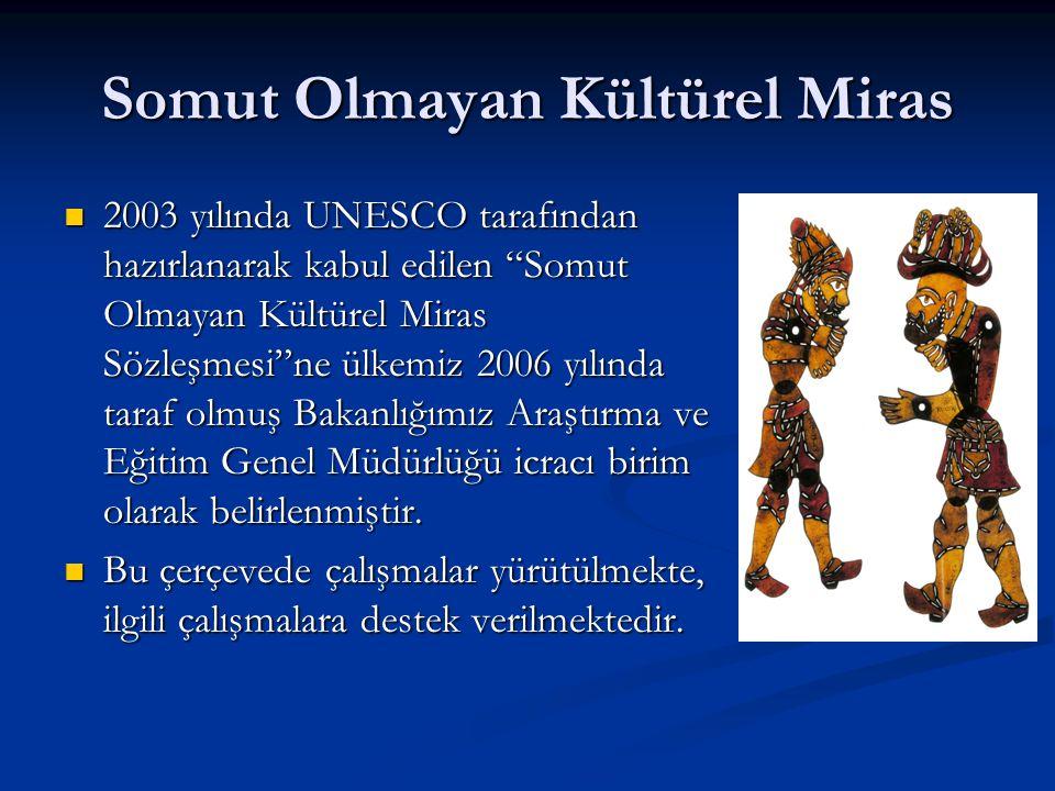 """Somut Olmayan Kültürel Miras  2003 yılında UNESCO tarafından hazırlanarak kabul edilen """"Somut Olmayan Kültürel Miras Sözleşmesi""""ne ülkemiz 2006 yılın"""