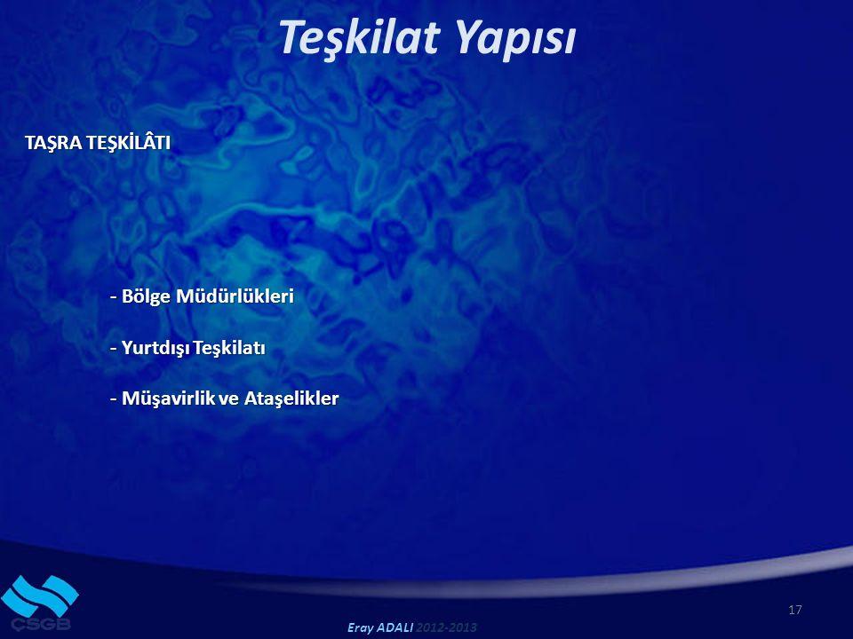 17 Teşkilat Yapısı TAŞRA TEŞKİLÂTI - Bölge Müdürlükleri - Yurtdışı Teşkilatı - Müşavirlik ve Ataşelikler Eray ADALI 2012-2013