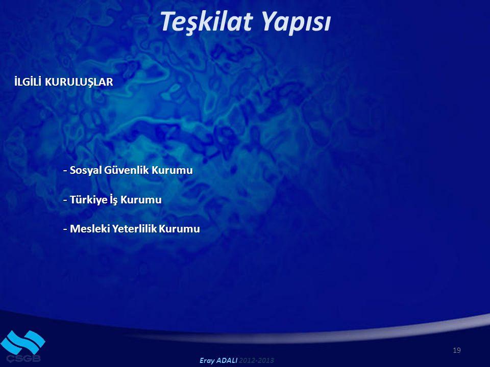 19 Teşkilat Yapısı İLGİLİ KURULUŞLAR - Sosyal Güvenlik Kurumu - Türkiye İş Kurumu - Mesleki Yeterlilik Kurumu Eray ADALI 2012-2013