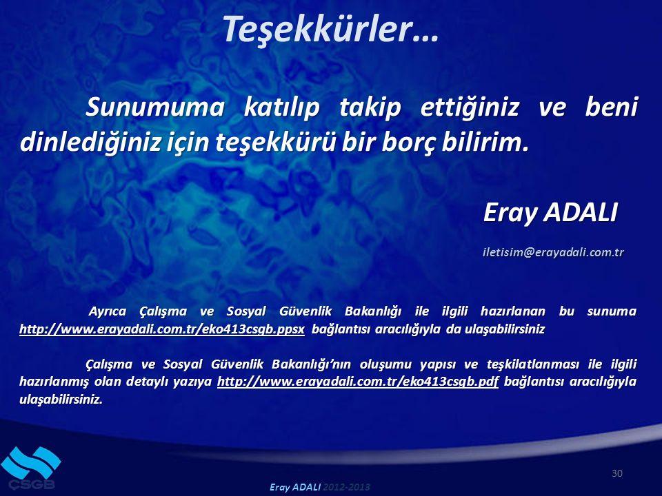 Teşekkürler… 30 Eray ADALI 2012-2013 Sunumuma katılıp takip ettiğiniz ve beni dinlediğiniz için teşekkürü bir borç bilirim.