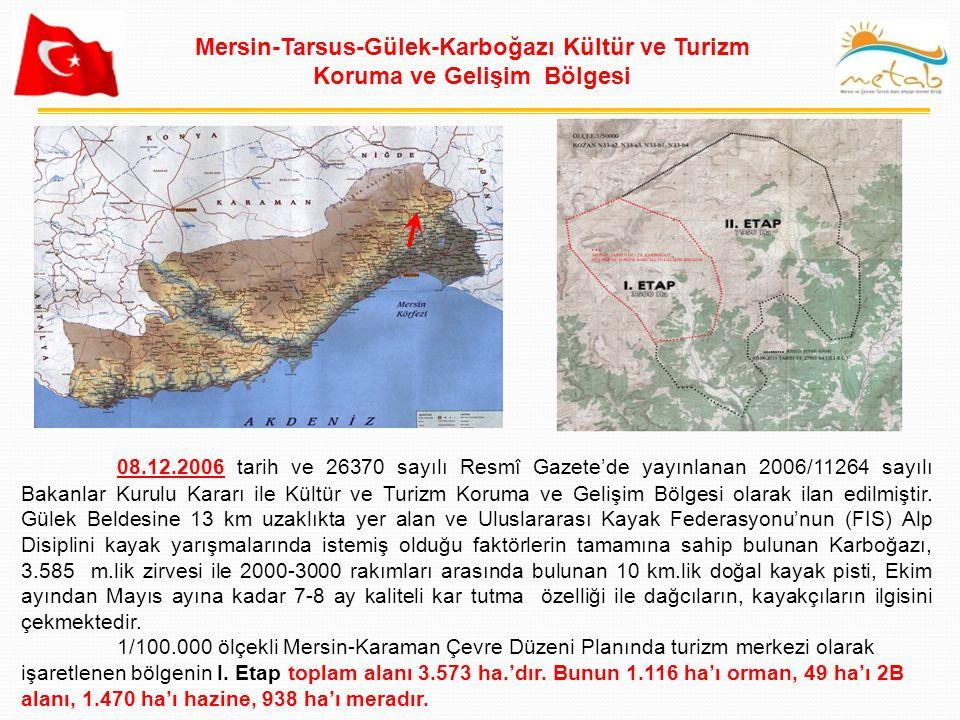 MERSİN TARSUS GÜLEK KARBOĞAZI KTKGB SINIR TEVSİİ PAFTA NO: KOZAN N33-a2; N33-a3; N33-b1; N33-b4 ÖLÇEK: 1/125 000 MERSİN TARSUS GÜLEK KARBOĞAZI KTKGB SINIR TEVSİİ ; 5 Haziran 2011 tarih ve 27955 sayılı Resmi Gazetede yayınlanan Bakanlar Kurulu kararıyla sınır tevsii onaylanmıştır.