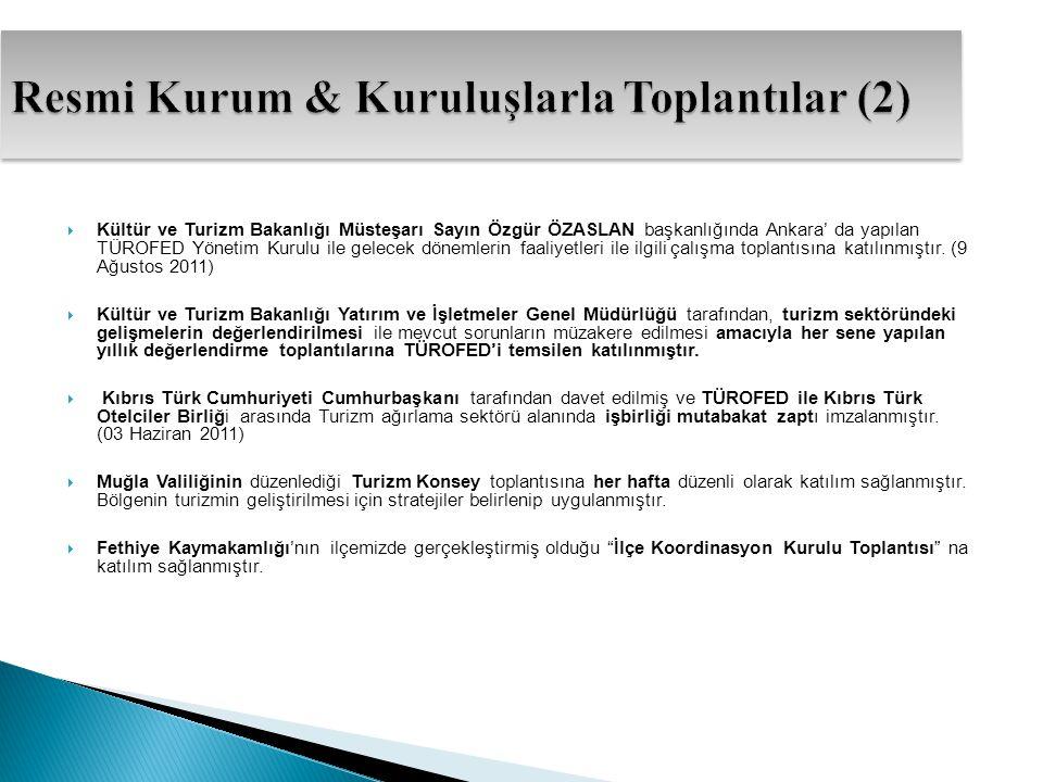  Kültür ve Turizm Bakanlığı Müsteşarı Sayın Özgür ÖZASLAN başkanlığında Ankara' da yapılan TÜROFED Yönetim Kurulu ile gelecek dönemlerin faaliyetleri