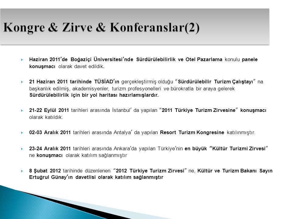  Haziran 2011'de Boğaziçi Üniversitesi'nde Sürdürülebilirlik ve Otel Pazarlama konulu panele konuşmacı olarak davet edildik.  21 Haziran 2011 tarihi