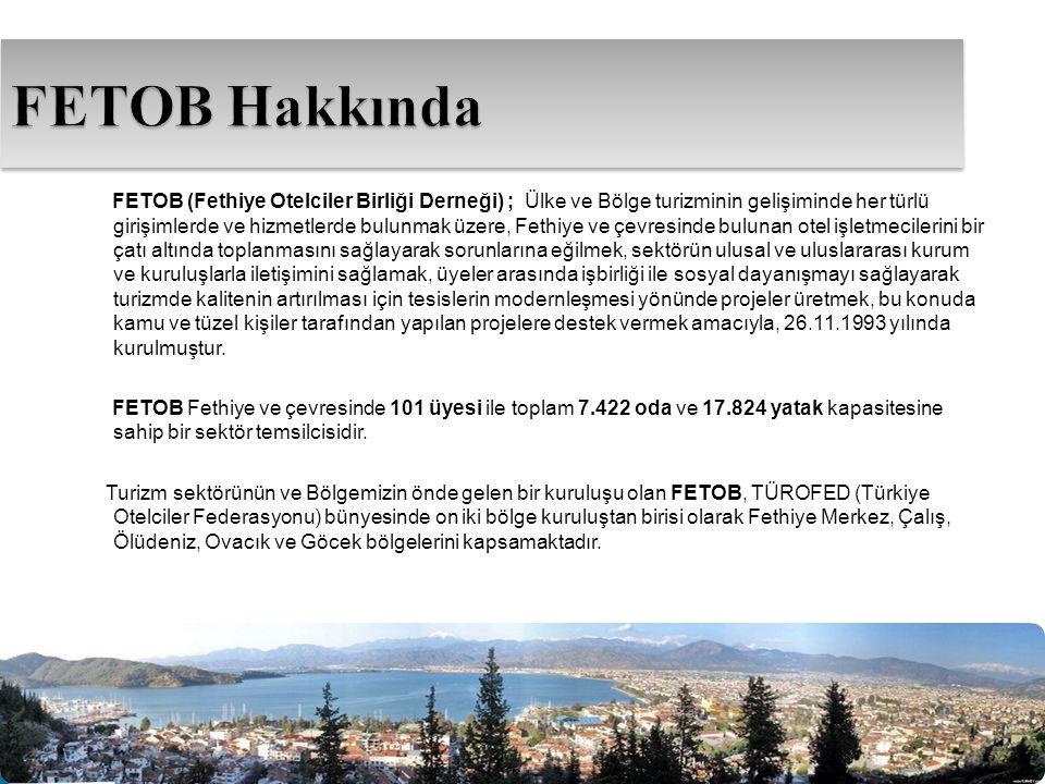 FETOB (Fethiye Otelciler Birliği Derneği) ; Ülke ve Bölge turizminin gelişiminde her türlü girişimlerde ve hizmetlerde bulunmak üzere, Fethiye ve çevr