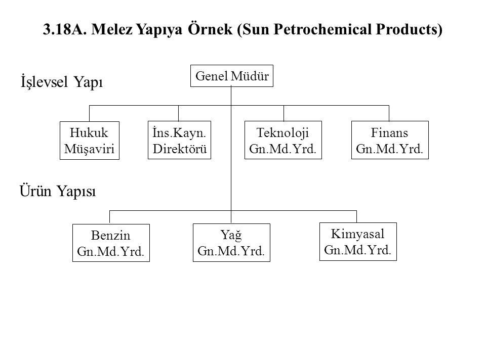 3.18A. Melez Yapıya Örnek (Sun Petrochemical Products) İşlevsel Yapı Hukuk Müşaviri Genel Müdür İns.Kayn. Direktörü Teknoloji Gn.Md.Yrd. Finans Gn.Md.