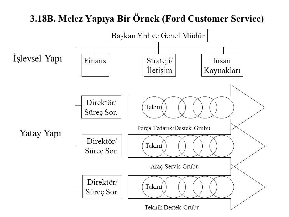 3.18B. Melez Yapıya Bir Örnek (Ford Customer Service) Başkan Yrd ve Genel Müdür İnsan Kaynakları Strateji/ İletişim Finans Direktör/ Süreç Sor. Direkt