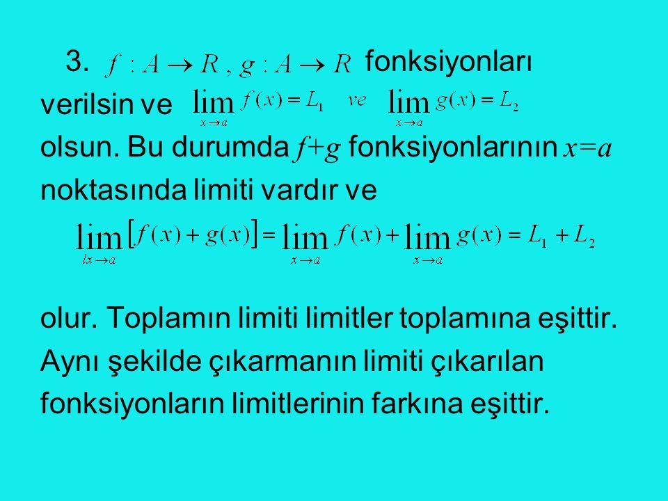 3. fonksiyonları verilsin ve olsun. Bu durumda f+g fonksiyonlarının x=a noktasında limiti vardır ve olur. Toplamın limiti limitler toplamına eşittir.