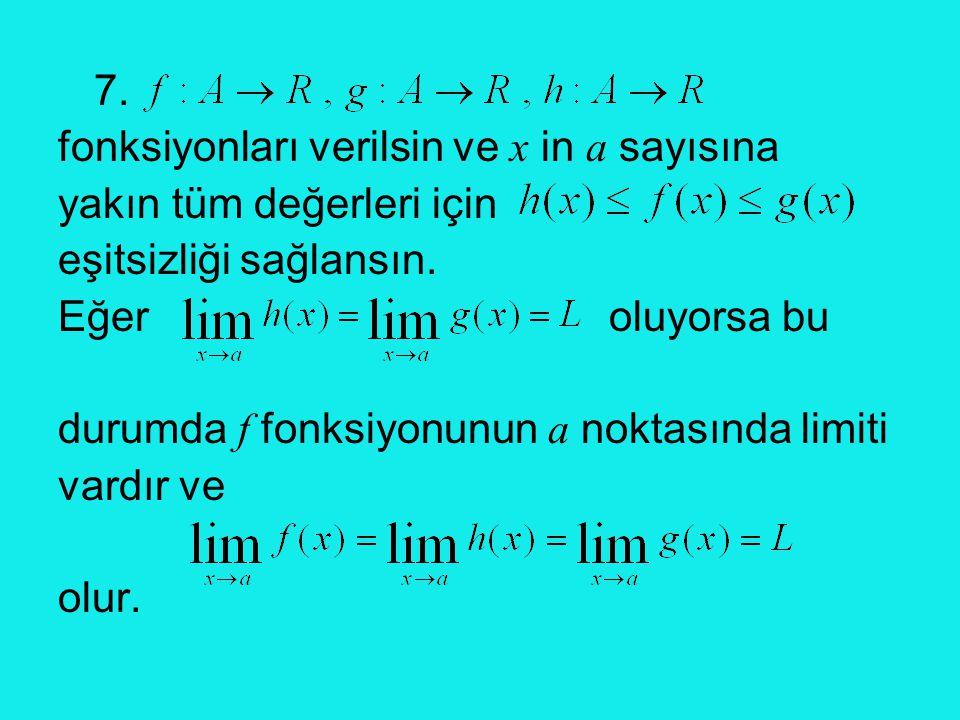 7. fonksiyonları verilsin ve x in a sayısına yakın tüm değerleri için eşitsizliği sağlansın. Eğer oluyorsa bu durumda f fonksiyonunun a noktasında lim