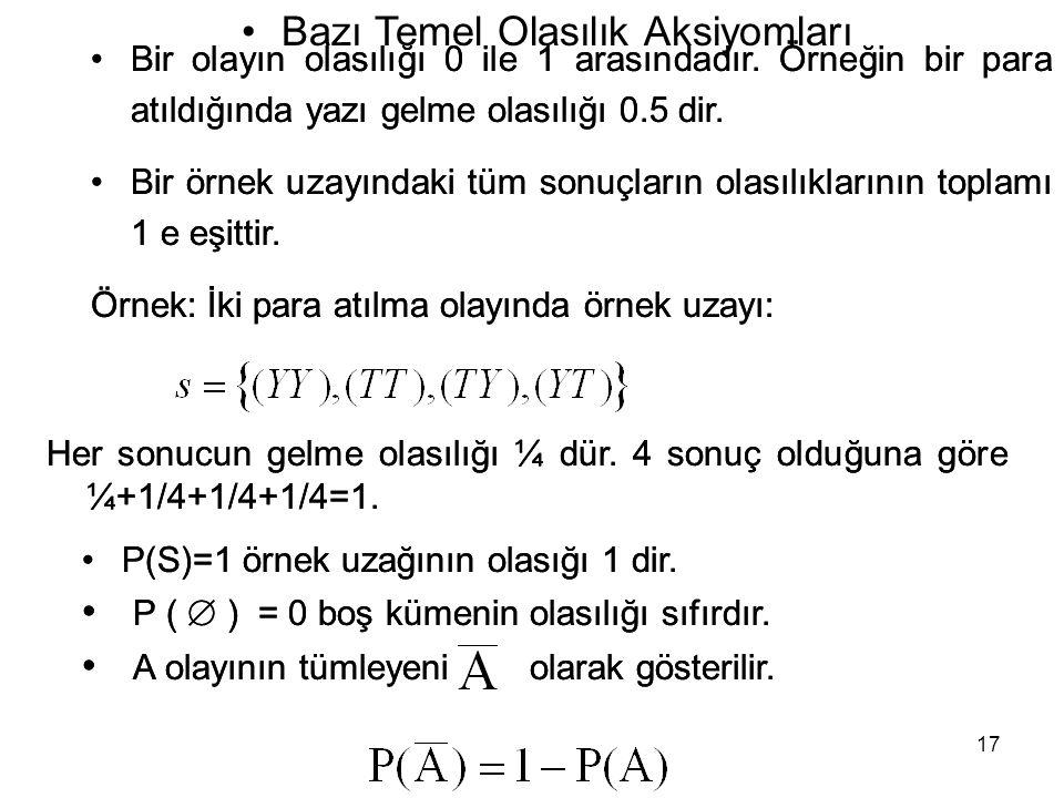 17 •Bir olayın olasılığı 0 ile 1 arasındadır.