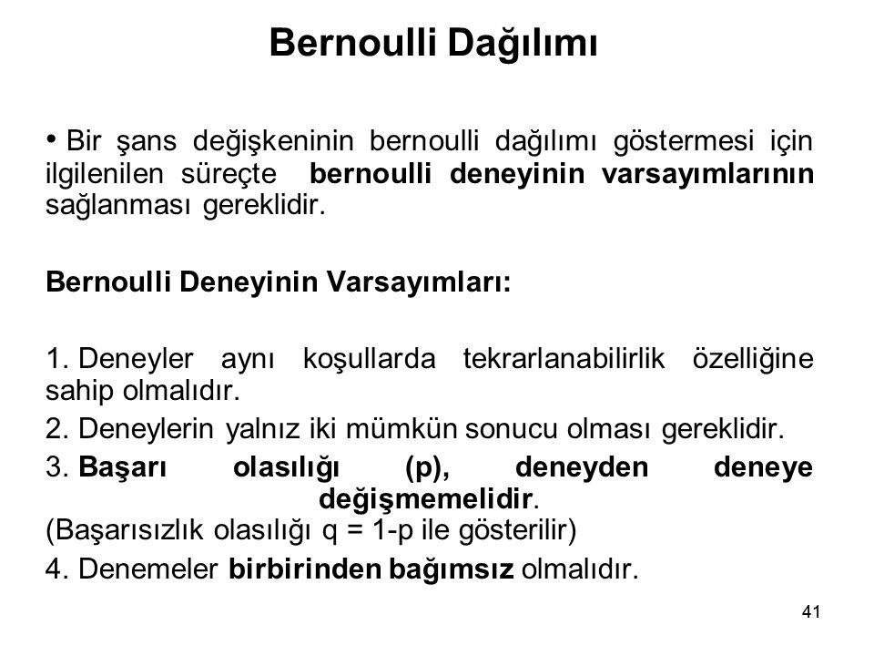41 Bernoulli Dağılımı • Bir şans değişkeninin bernoulli dağılımı göstermesi için ilgilenilen süreçte bernoulli deneyinin varsayımlarının sağlanması gereklidir.