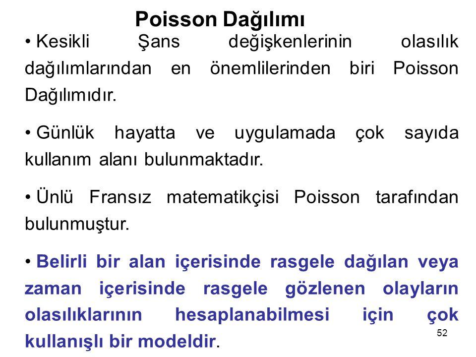 52 Poisson Dağılımı • Kesikli Şans değişkenlerinin olasılık dağılımlarından en önemlilerinden biri Poisson Dağılımıdır.