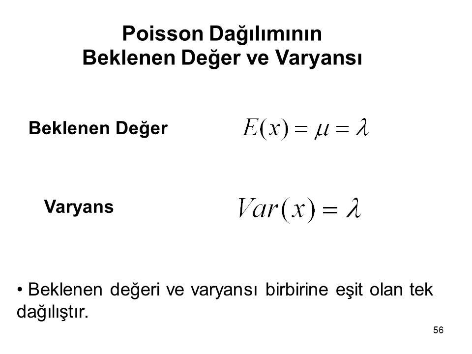 56 Poisson Dağılımının Beklenen Değer ve Varyansı Beklenen Değer Varyans • Beklenen değeri ve varyansı birbirine eşit olan tek dağılıştır.