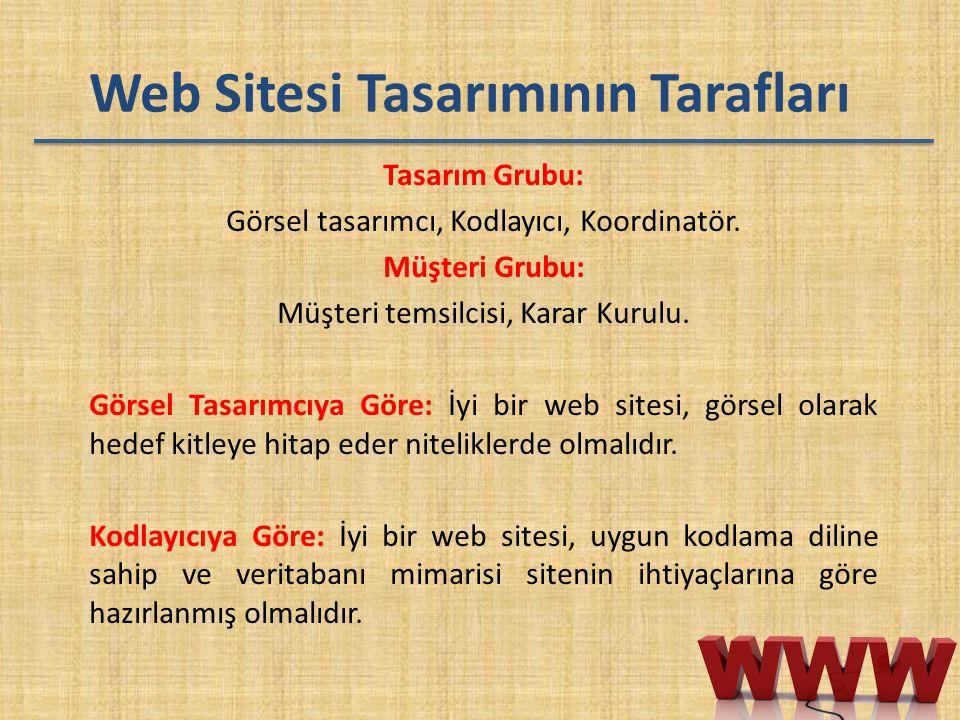 Web Sitesi Tasarımının Tarafları Tasarım Grubu: Görsel tasarımcı, Kodlayıcı, Koordinatör. Müşteri Grubu: Müşteri temsilcisi, Karar Kurulu. Görsel Tasa