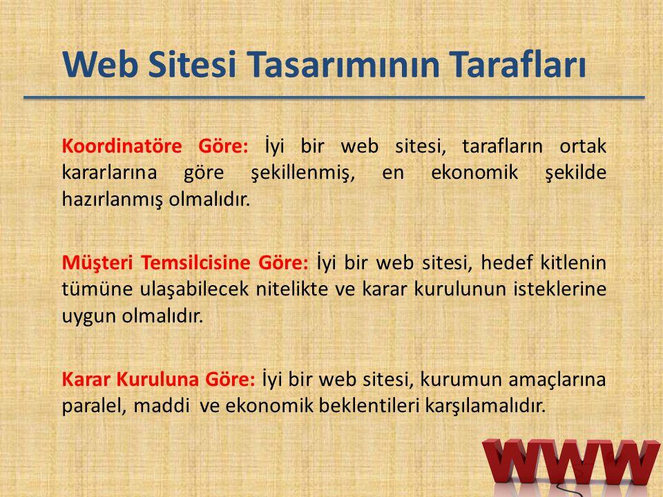 Web Sitesi Tasarımının Tarafları Koordinatöre Göre: İyi bir web sitesi, tarafların ortak kararlarına göre şekillenmiş, en ekonomik şekilde hazırlanmış
