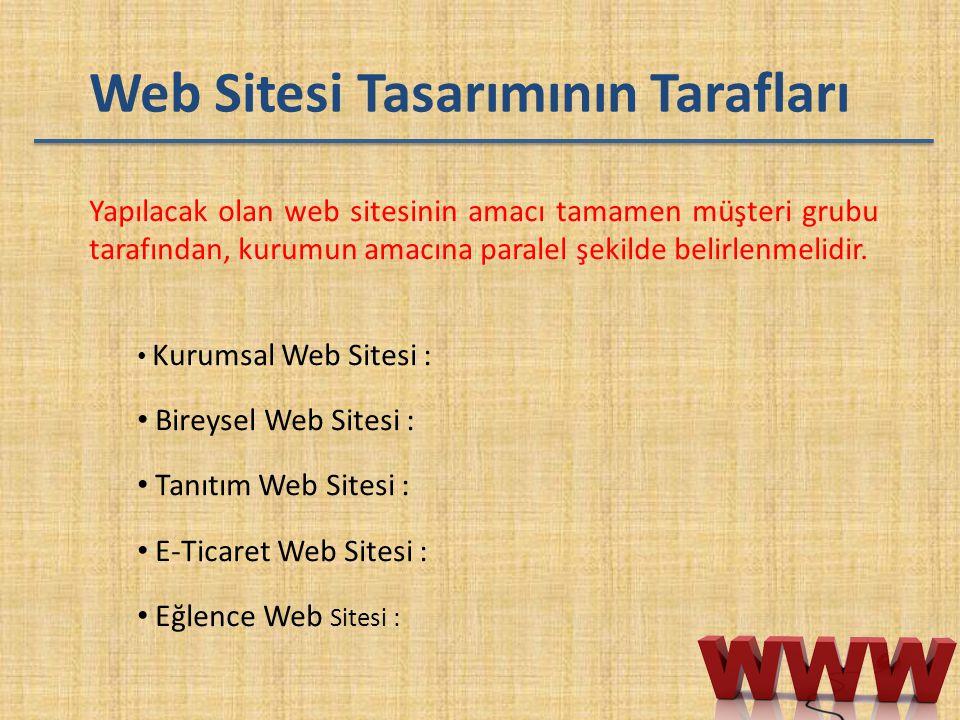 Web Sitesi Tasarımının Tarafları Yapılacak olan web sitesinin amacı tamamen müşteri grubu tarafından, kurumun amacına paralel şekilde belirlenmelidir.