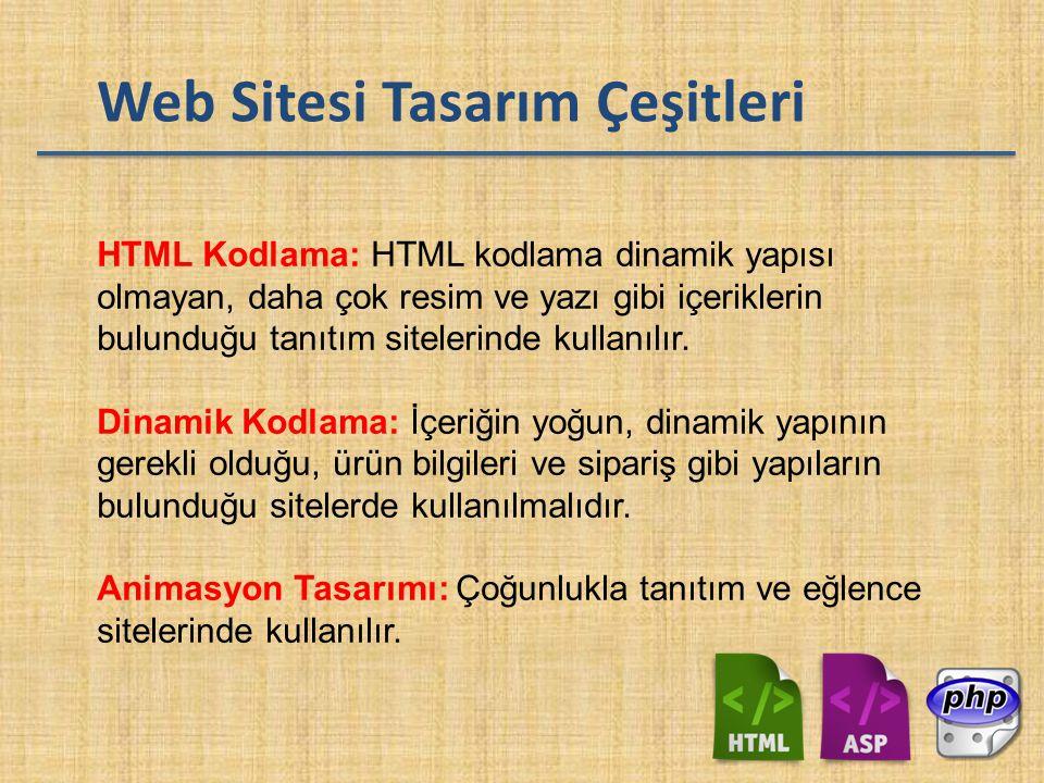 Web Sitesi Tasarım Çeşitleri HTML Kodlama: HTML kodlama dinamik yapısı olmayan, daha çok resim ve yazı gibi içeriklerin bulunduğu tanıtım sitelerinde