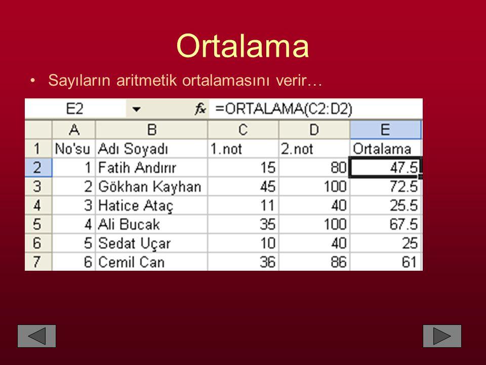 Ortalama •Sayıların aritmetik ortalamasını verir…