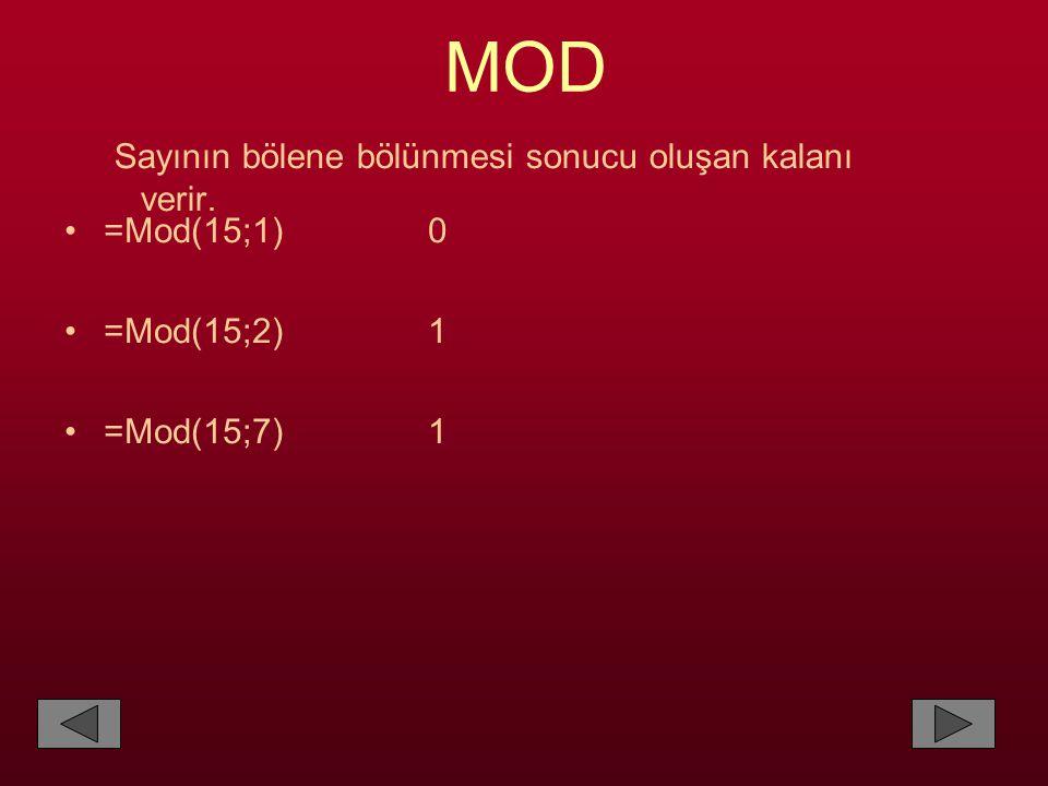 MOD Sayının bölene bölünmesi sonucu oluşan kalanı verir. •=Mod(15;1) 0 •=Mod(15;2) 1 •=Mod(15;7) 1