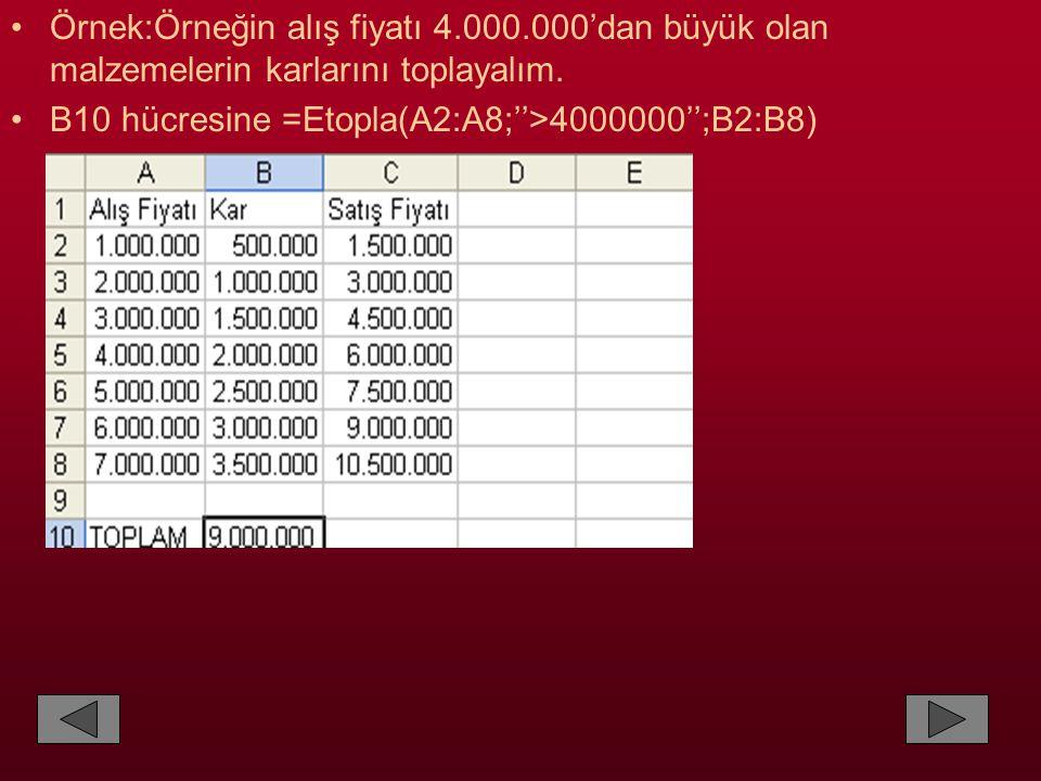•Örnek:Örneğin alış fiyatı 4.000.000'dan büyük olan malzemelerin karlarını toplayalım. •B10 hücresine =Etopla(A2:A8;''>4000000'';B2:B8)
