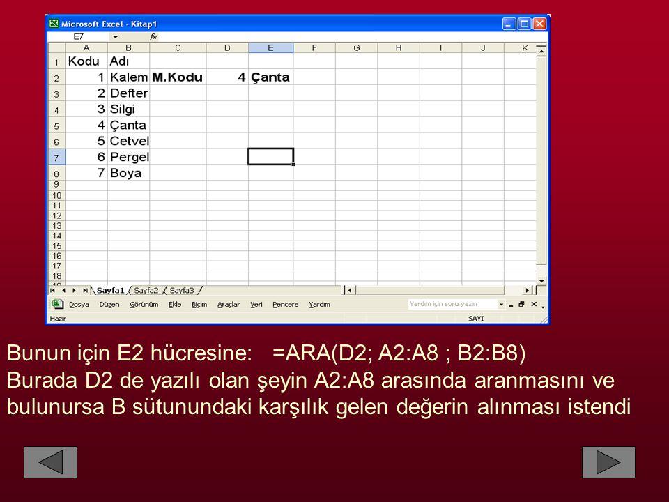 Bunun için E2 hücresine: =ARA(D2; A2:A8 ; B2:B8) Burada D2 de yazılı olan şeyin A2:A8 arasında aranmasını ve bulunursa B sütunundaki karşılık gelen değerin alınması istendi