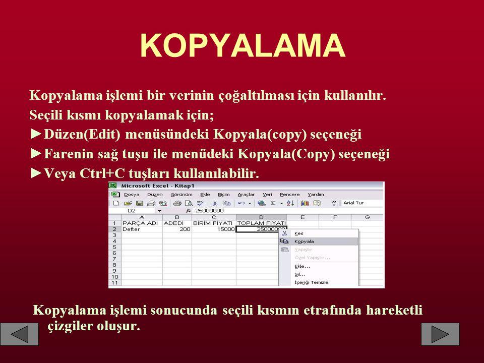 KOPYALAMA Kopyalama işlemi bir verinin çoğaltılması için kullanılır. Seçili kısmı kopyalamak için; ►Düzen(Edit) menüsündeki Kopyala(copy) seçeneği ►Fa