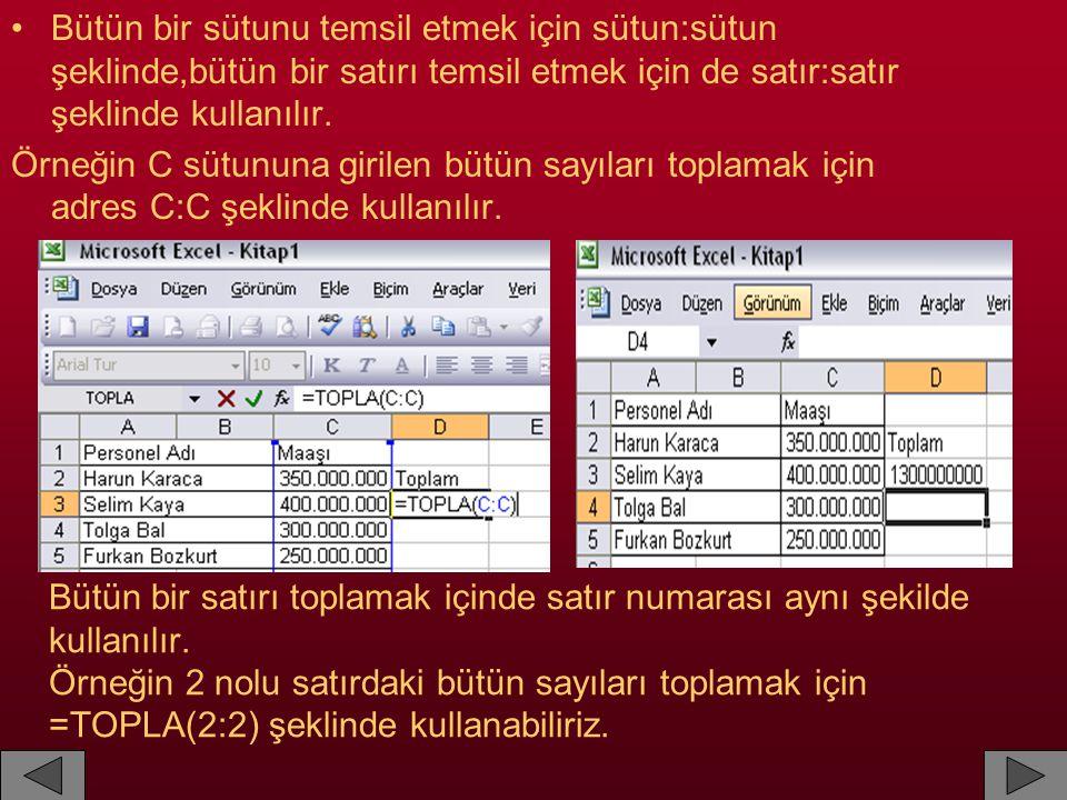 Bütün bir satırı toplamak içinde satır numarası aynı şekilde kullanılır. Örneğin 2 nolu satırdaki bütün sayıları toplamak için =TOPLA(2:2) şeklinde ku