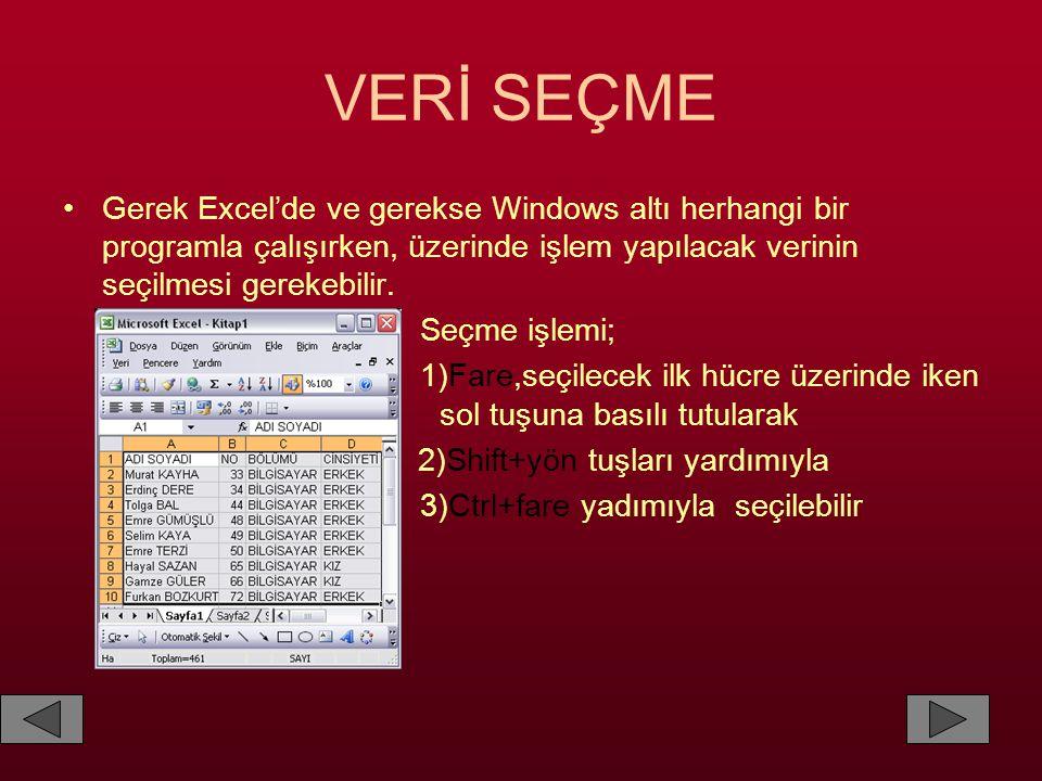 VERİ SEÇME •Gerek Excel'de ve gerekse Windows altı herhangi bir programla çalışırken, üzerinde işlem yapılacak verinin seçilmesi gerekebilir. Seçme iş