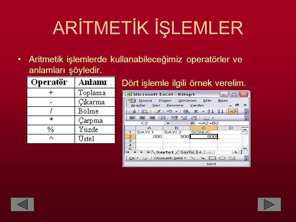 ARİTMETİK İŞLEMLER •Aritmetik işlemlerde kullanabileceğimiz operatörler ve anlamları şöyledir. Dört işlemle ilgili örnek verelim.