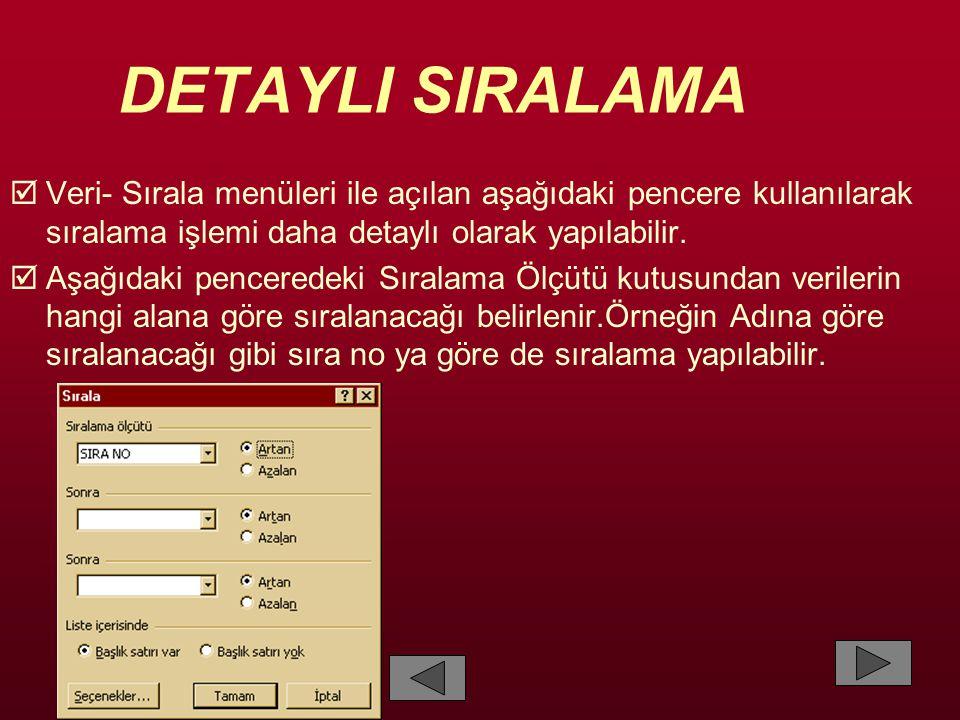 DETAYLI SIRALAMA  Veri- Sırala menüleri ile açılan aşağıdaki pencere kullanılarak sıralama işlemi daha detaylı olarak yapılabilir.