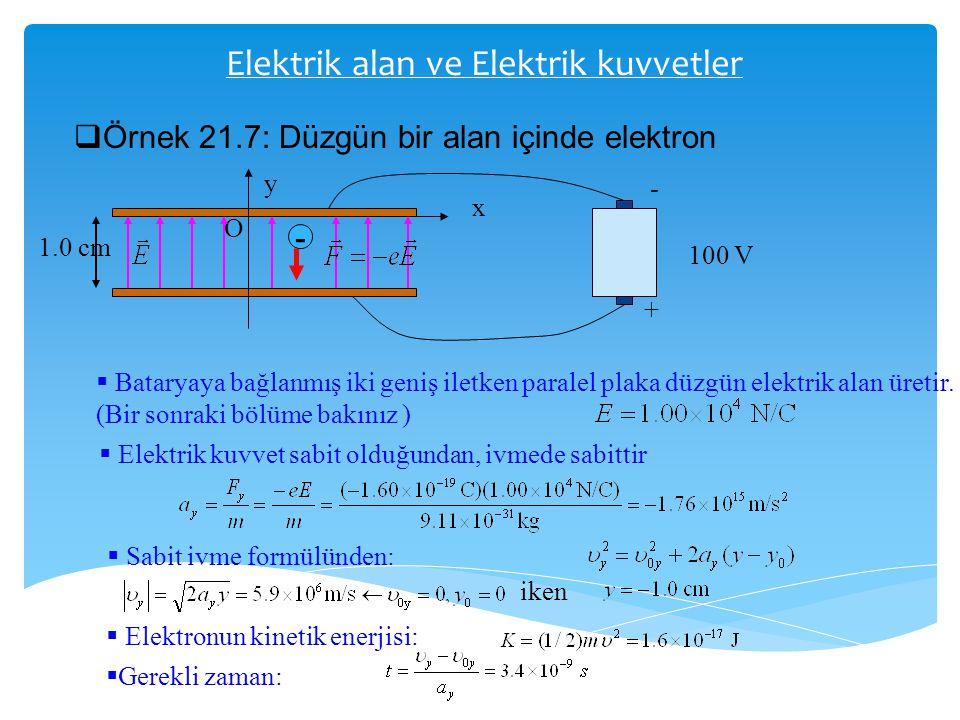 Elektrik alan ve Elektrik kuvvetler  Örnek 21.7: Düzgün bir alan içinde elektron y x O 1.0 cm - - + 100 V  Bataryaya bağlanmış iki geniş iletken par