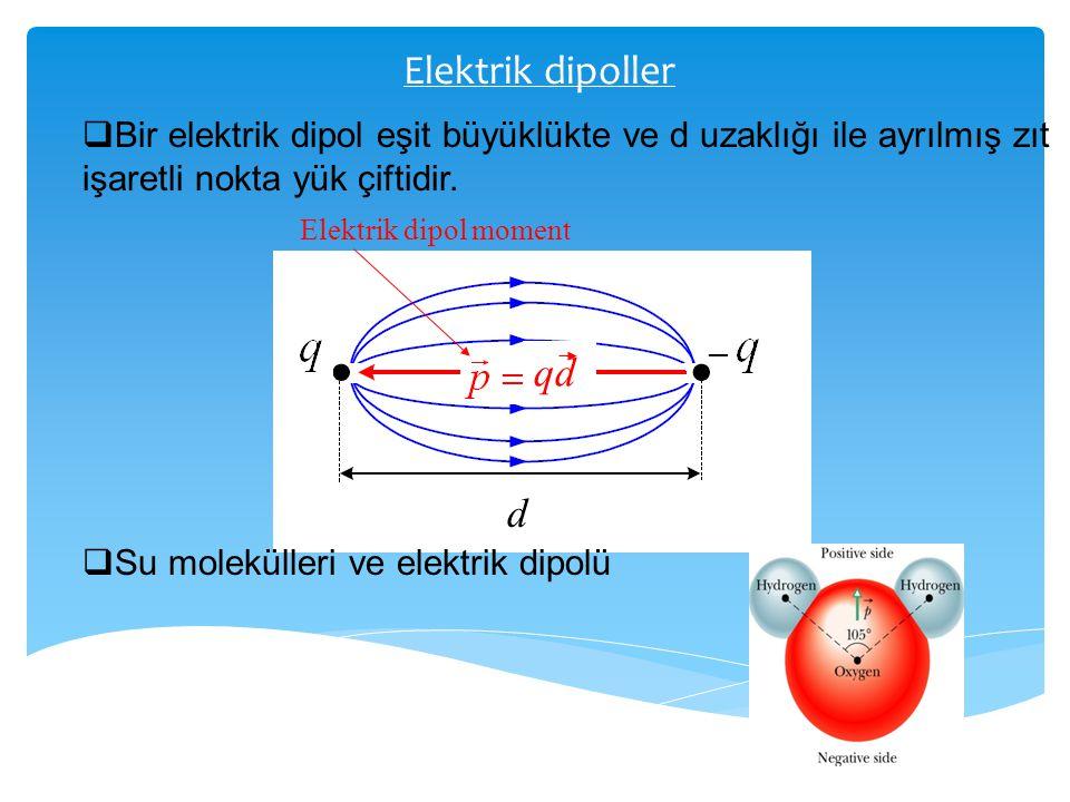 Elektrik dipoller  Bir elektrik dipol eşit büyüklükte ve d uzaklığı ile ayrılmış zıt işaretli nokta yük çiftidir. qd d Elektrik dipol moment  Su mol