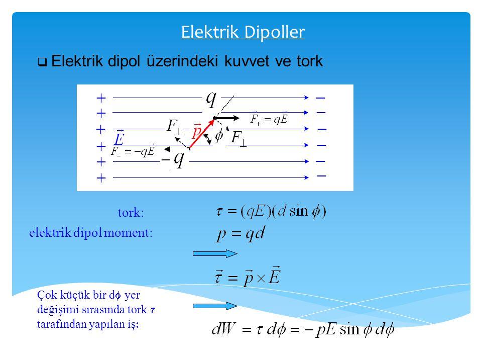 Elektrik Dipoller  Elektrik dipol üzerindeki kuvvet ve tork tork: elektrik dipol moment: Çok küçük bir d  yer değişimi sırasında tork  tarafından y