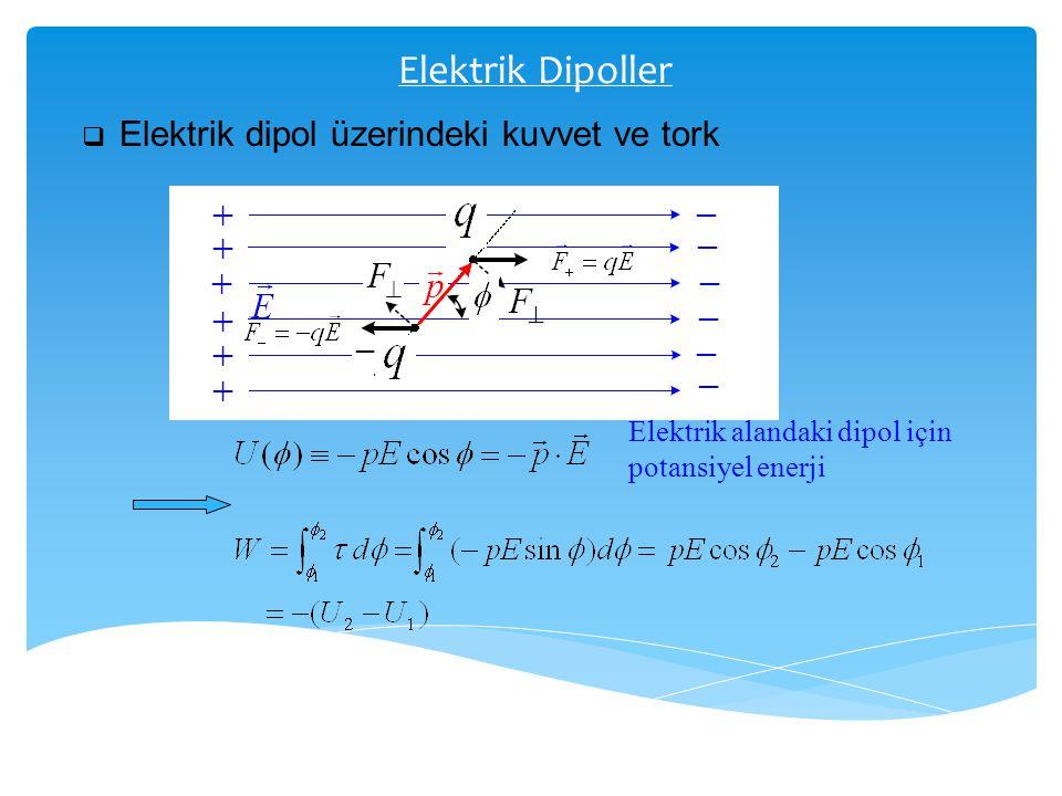Elektrik Dipoller  Elektrik dipol üzerindeki kuvvet ve tork Elektrik alandaki dipol için potansiyel enerji