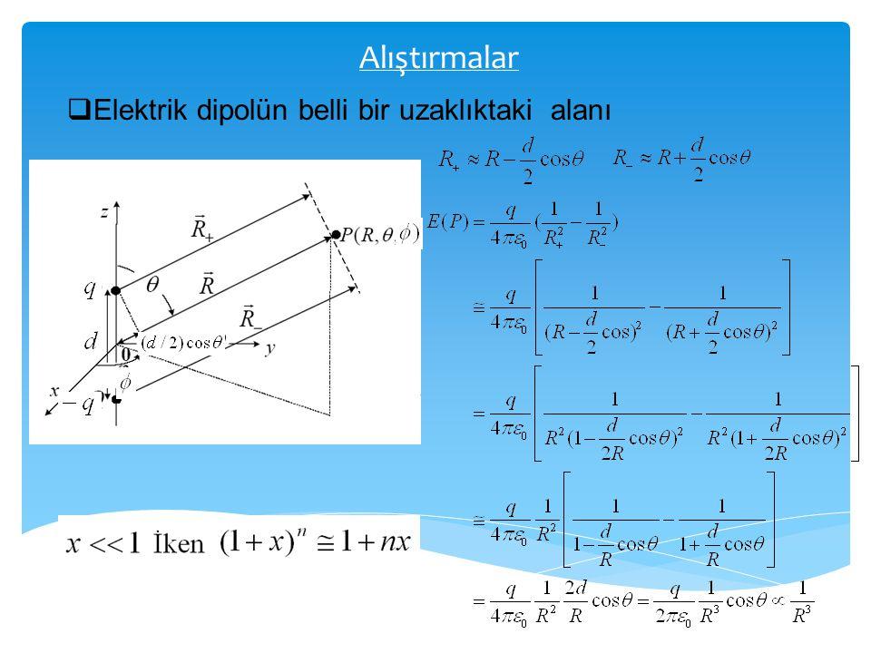 Alıştırmalar  Elektrik dipolün belli bir uzaklıktaki alanı