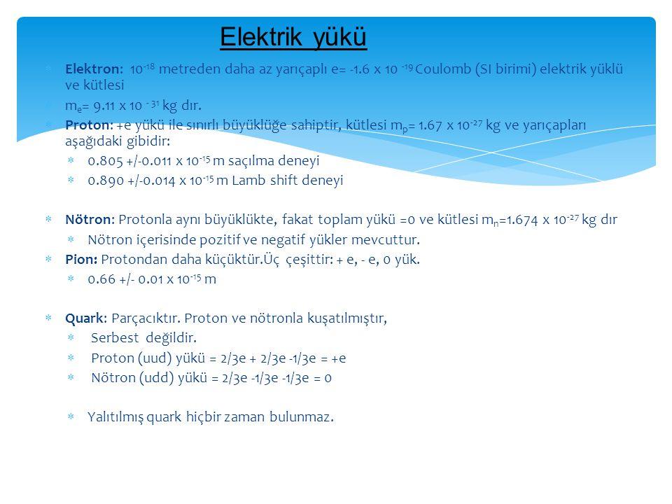  Elektron: 10 -18 metreden daha az yarıçaplı e= -1.6 x 10 -19 Coulomb (SI birimi) elektrik yüklü ve kütlesi  m e = 9.11 x 10 - 31 kg dır.  Proton: