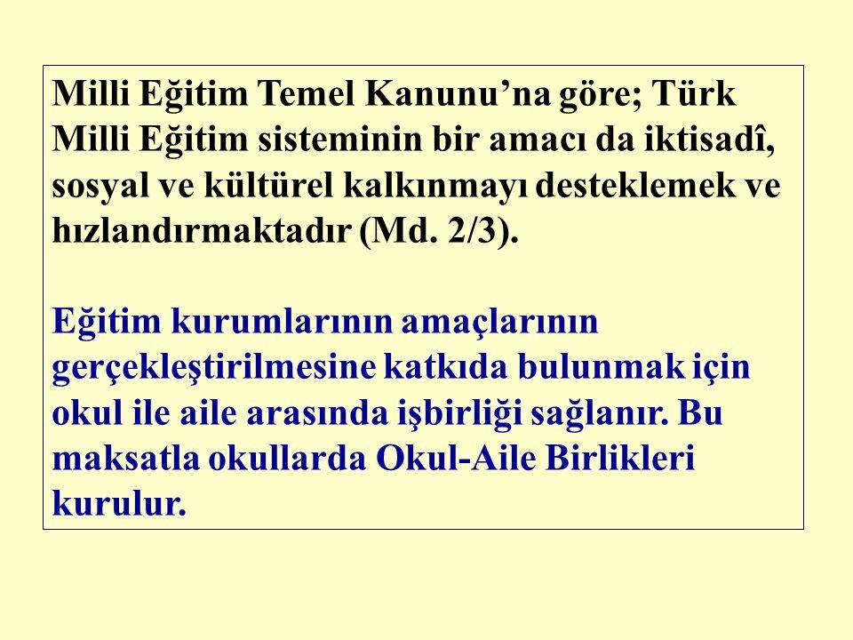 Milli Eğitim Temel Kanunu'na göre; Türk Milli Eğitim sisteminin bir amacı da iktisadî, sosyal ve kültürel kalkınmayı desteklemek ve hızlandırmaktadır